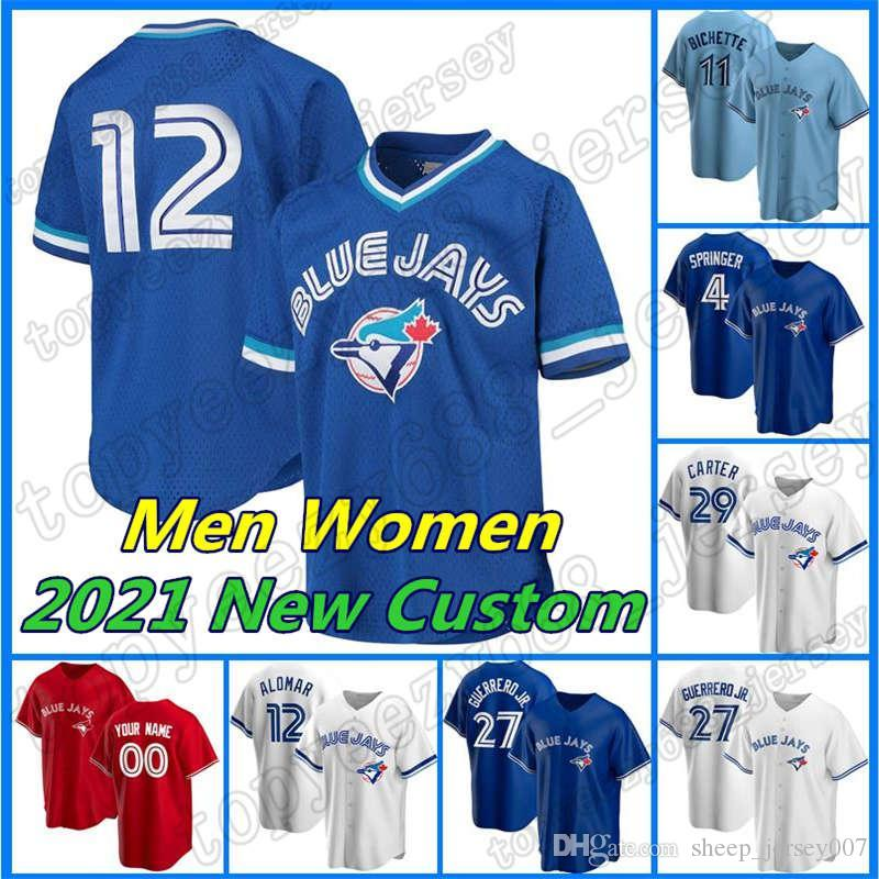 Custom Blue Baseball 4 George Springer Jays 12 Roberto Alomar Jersey 27 Vladimir Guerrero Jr 10 Marcus Semien 8 Cavan Biggio Joe Carter