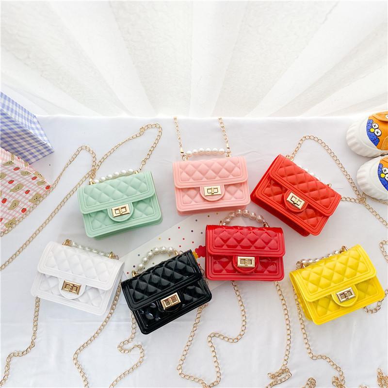 Летние девочки желе силиконовые сумки дети жемчужина мини-аксессуары кошелек дети помада маленькая квадратная сумка девушка посыльные сумки f135