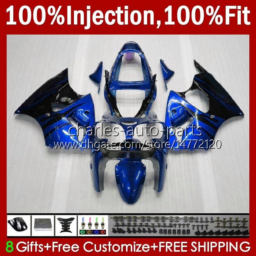 OEM Ciało Wtryska Forma dla Kawasaki Ninja ZZR600 05-08 Niebieskie Flames ZX ZZR-600 600 CC 05 06 07 08 Cowing 38HC.231 ZZR 600 600CC 2005 2006 2007 2007 2007 100% Fit Fit Working Kit