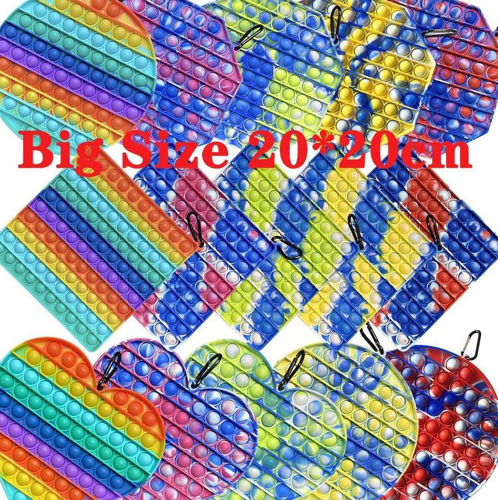 20 cm Büyük Boy Dinler Kabarcık Fidget Oyuncaklar Otizm Squishy Stres Rahatlatıcı Dekompresyon Oyuncak Parti Favor Yetişkin Çocuk Kravat Boya Aydınlık Gökkuşağı Komik Anti-Stres Hediye 496