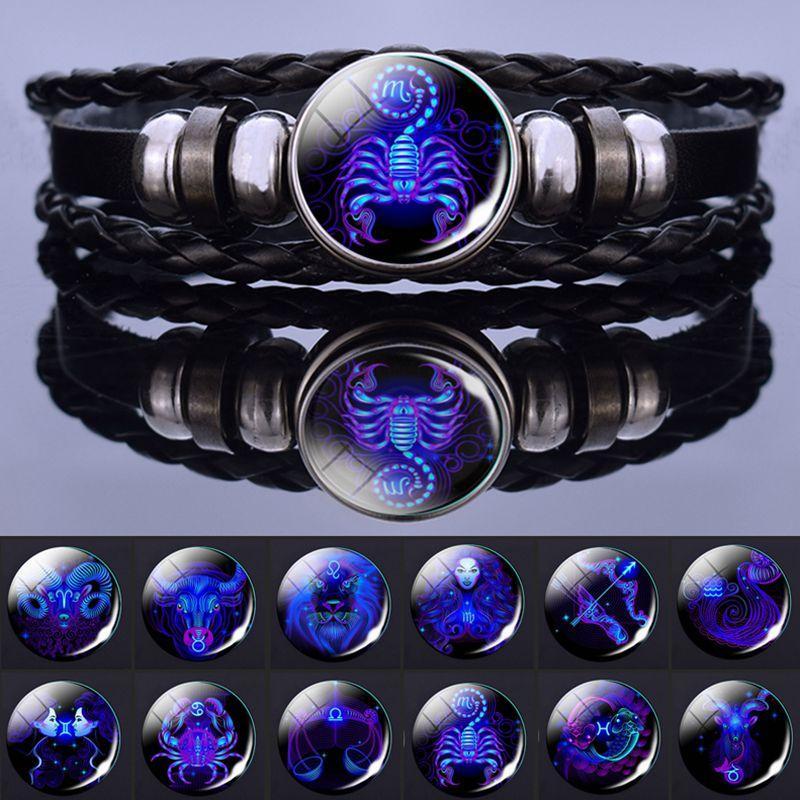 Bracciali da uomo 12 Segni zodiacali Constellation Charm Donne Fashion Multilayer Weave Pelle Braccialetto Braccialetto Braccialetto Bracciale Regali di compleanno Gioielli