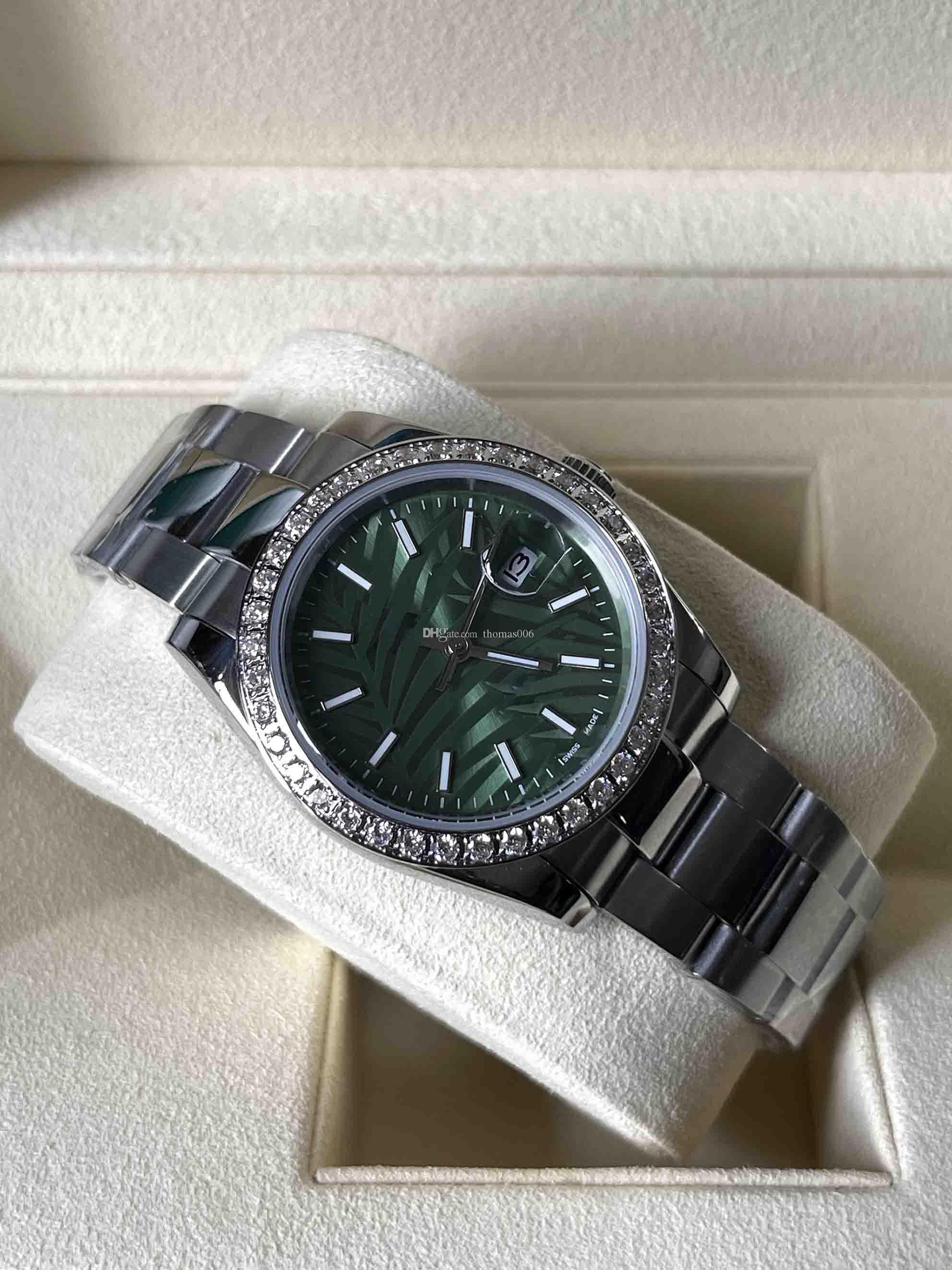 2021 Datejust Olive Green Relógios Automáticos Dial Diamante 126200 Homens e Mulheres Azul Hole Padrão 126234 Mecânica 36mm Presente