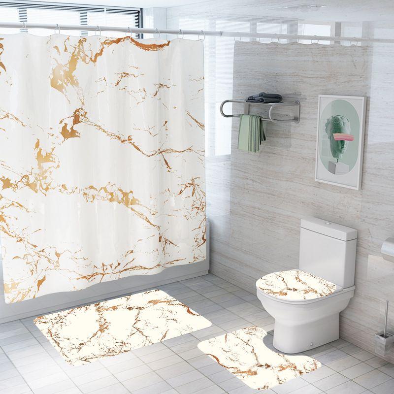 4 adet / takım Yaratıcı Mermer Baskı Banyo Su Geçirmez Duş Perdesi Kaide Kilim Kapak Halı Tuvalet Kapağı Banyo Mat Seti