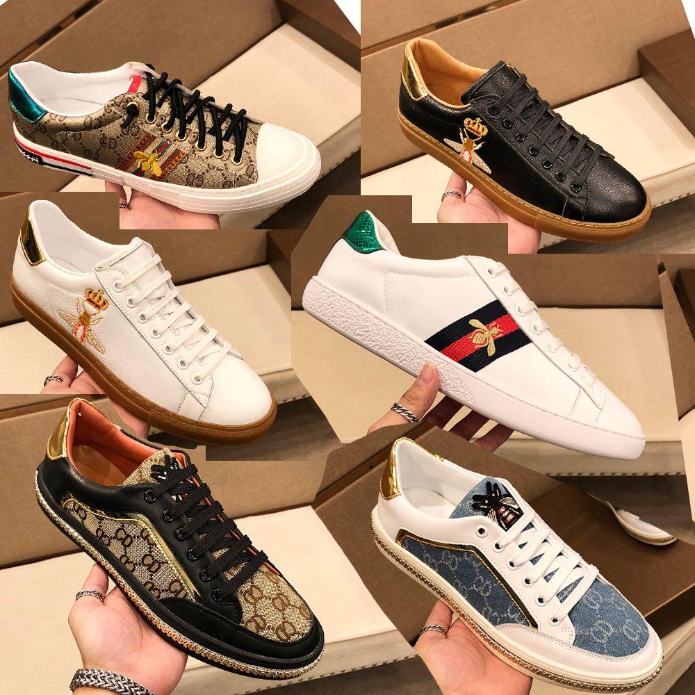 Orijinaller Yüksek Kaliteli Sneaker Lüks Klasik Spor Ayakkabı Erkek Kadın Tasarımcı 100% Yumuşak Deri Düz Rahat Küçük Arı Işlemeli Severler Beyaz Marka