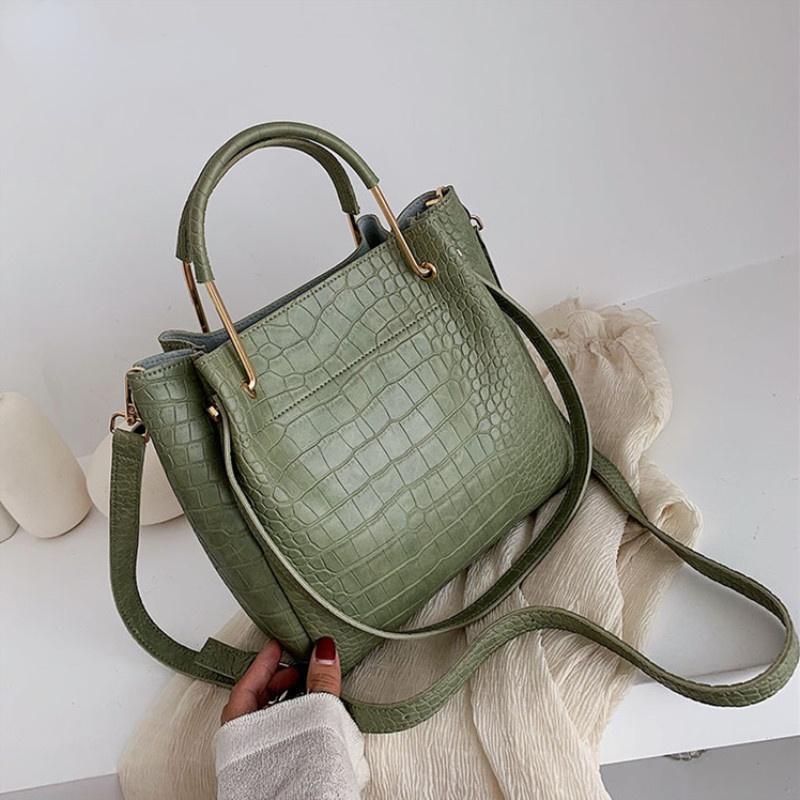 Taille Taschen Stein Muster PU Leder Eimer für Frauen 2021 Kleine Schulter Messenger Bag Dame Mode Handtaschen Luxus Totes