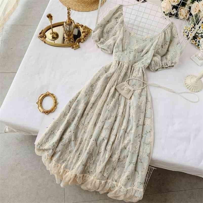 Verano elegante mujer encaje malla patchwork vestido vintage hembra floral estampado medio largo con bolsa 210423