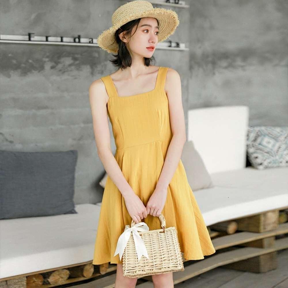 فساتين بلا أكمام المرأة الصيف 2021 النسخة الكورية الجديدة الصغيرة الطازجة أنيقة بلون ألف خط حمالة اللباس