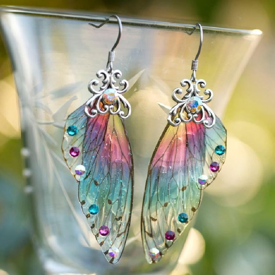 Luxo arco-íris cigarra asas asas dangle mulheres moda brincos de diamante meninas vestuário acessórios de jóias para senhora
