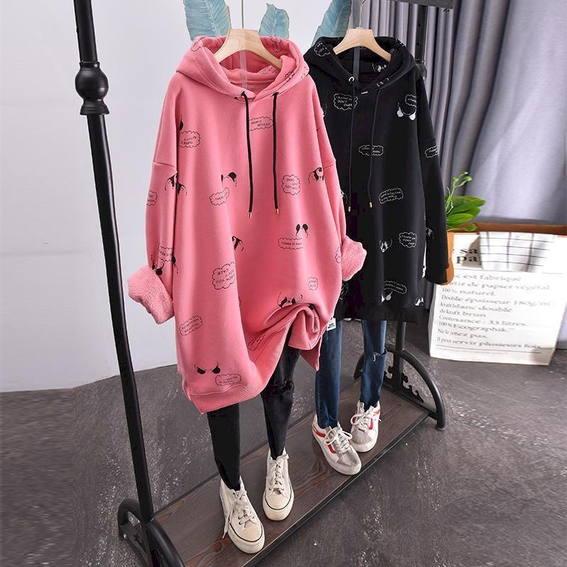 Taille de grande taille plus Sweats à capuche Velvet Femmes Loose Coréen Style Automne et hiver Moyen-longueur Manteau épais de femme à capuche de femme à capuche pour femmes