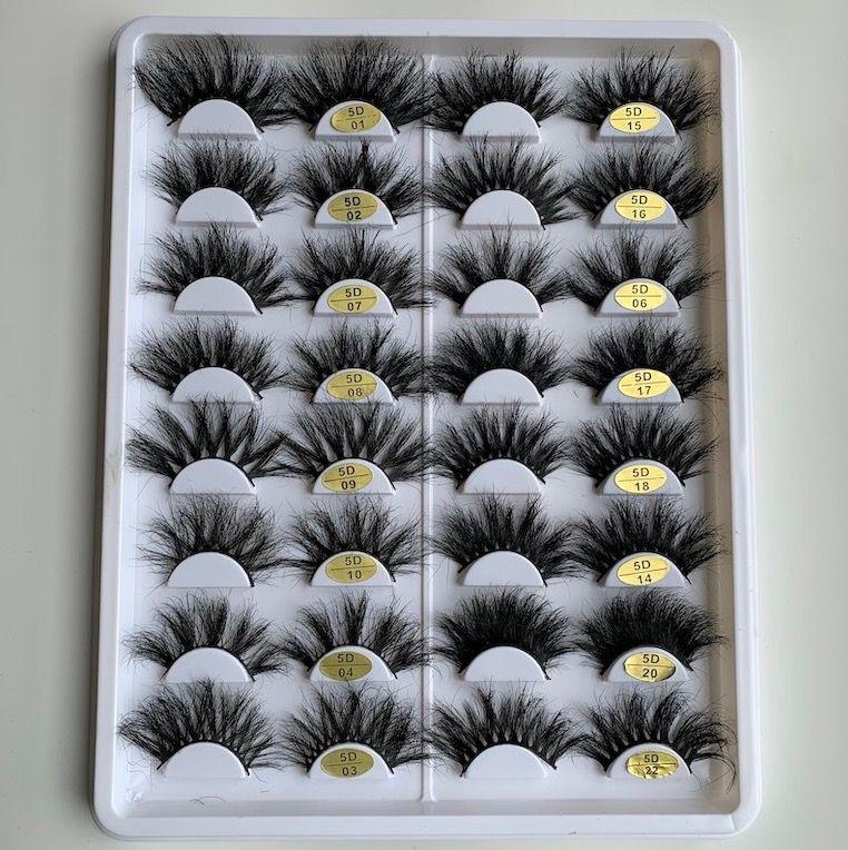 25mm 5d Vizon Göz Lashes Dramatik Uzun Kirpik Makyaj Tam Şerit 25mm Yanlış Kirpik 3D Kirpik Yeniden Kullanılabilir