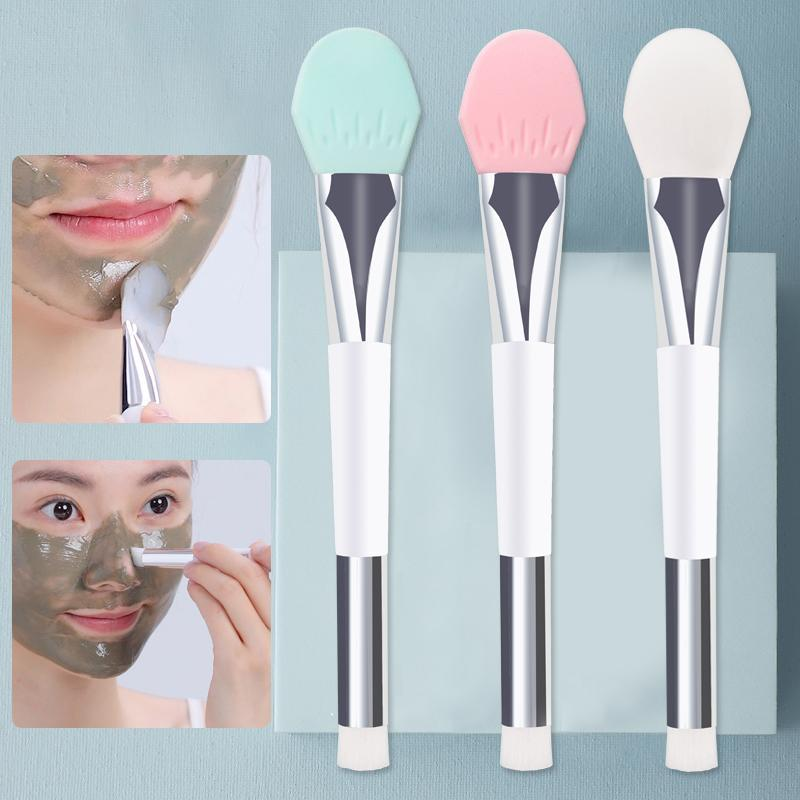 Eyelash Curler 1pc Makeup Brush Face Mask Silicone Cosmetic Beauty Tool Blackhead Remover Double-Head DIY Mud Mixing Facial Skin Care Brushe
