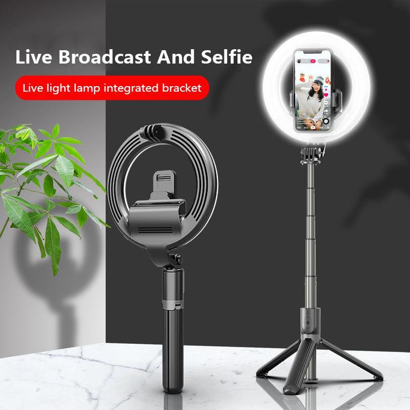 L07-Telefon-Selfie-Stick-Stativ mit 5-Zoll-LED-Ring 3 Level der Helligkeits-Fülllicht ausziehbarer Bluetooth-Remote-Selfie-Stick