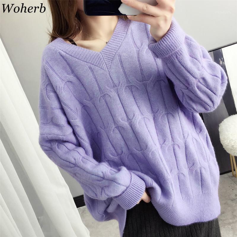WOLERB NOUVEAU 2019 Automne Hiver Sweaters surdimensionnés Pull à col en V Pull à col en V coréen style coréen Jumoer Casual Solid1
