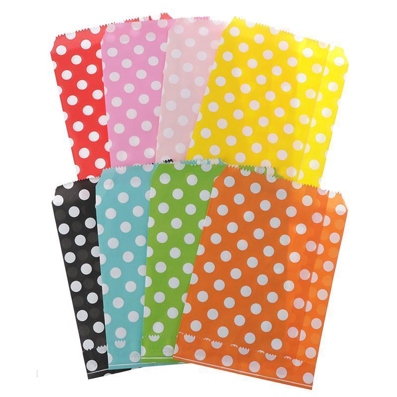 Gift Wrap 25 Pcs/Pack Polka Dot Pattern Paper Bag Candy Cookies Cupcake Kids Birthday Party Supplies Wedding Favor