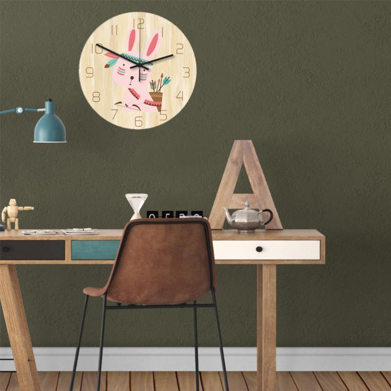 만화 벽 시계 아크릴 나무 홈 사무실에 대 한 침묵의 나무 침착 한 배터리 포함 시계 없음