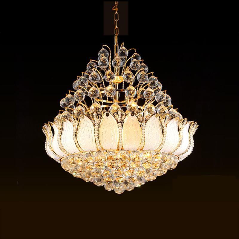 Modern Golden Crystal Chandeliers Luzes Luminária LED Americana Candelabro Lotus Flor Home Indoor Iluminação Cama cama Sala de estar Pendurado Lâmpada DHL