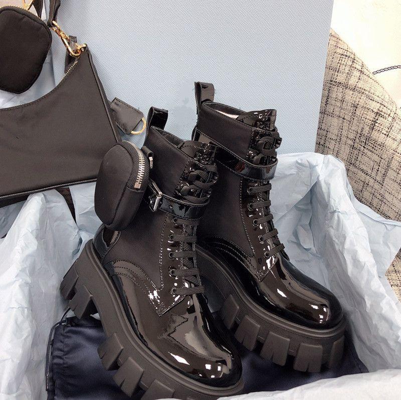 أعلى جودة النساء المصممين ريال الأحذية الكاحل مارتن التمهيد العسكرية مستوحاة من القتالية النايلون الأواني القابلة للإزالة مع صندوق