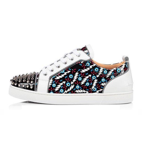 Top Quality Vermelho Bottoms Mens Mulheres Casuais Sapatos Multicolor Black Designers Plataforma Flat Flash Flash Vintage Picos Rebite Fashion Sneaker