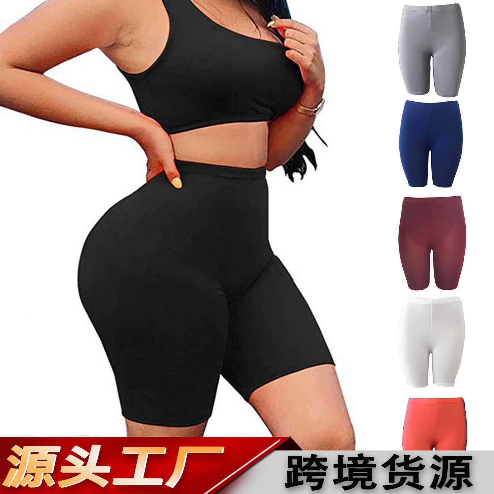 Summer 2021 Capris Hip Levantamiento de cadera y color sólido delgado Pantalones de yoga de mujer