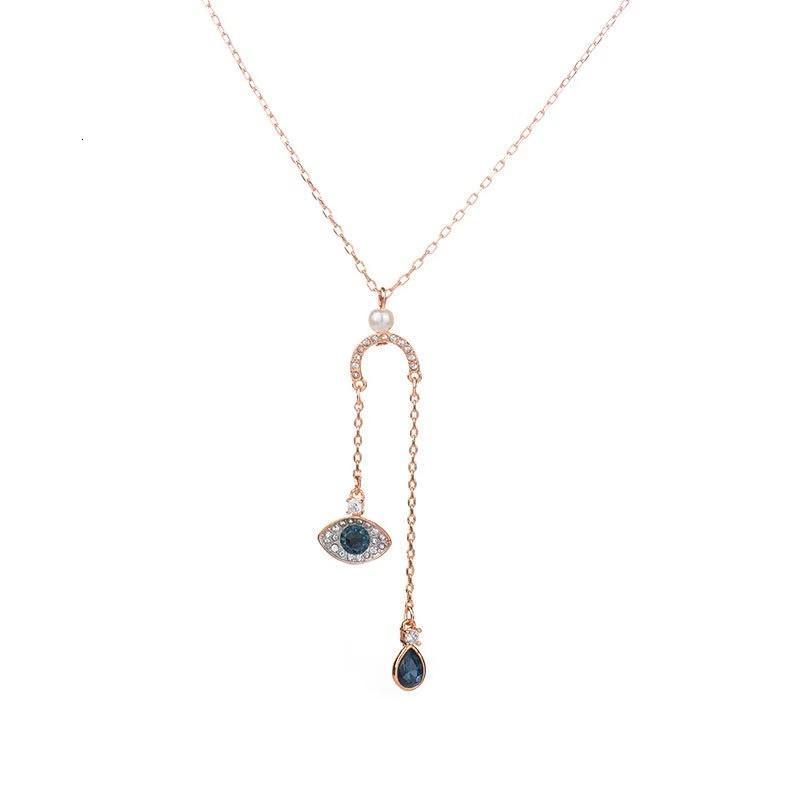 Ожерелье Ювелирные Изделия 18K Позолоченные Глаза Злые Кулон Каменные Кристальные Люстры Ожерелья Sier 925