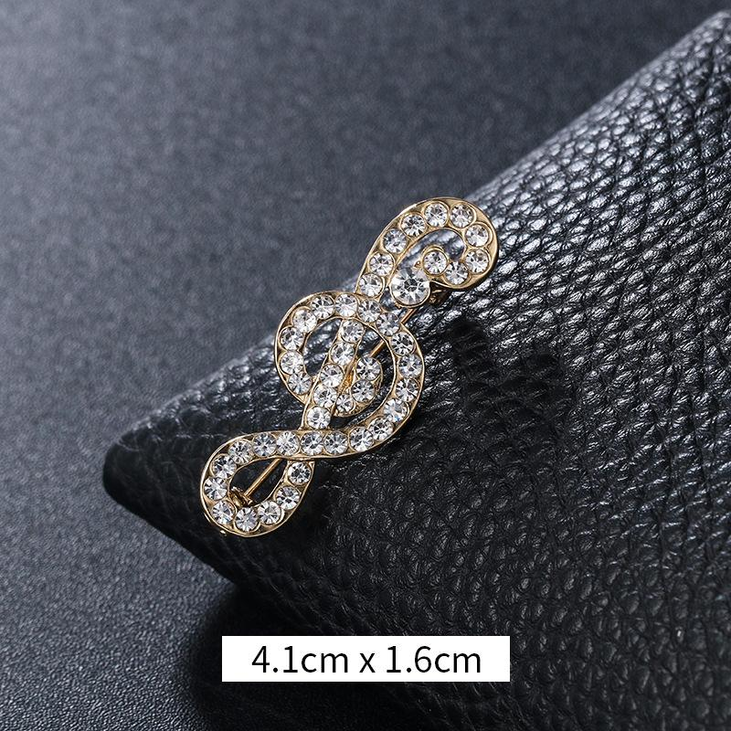 New Designer Musical Note Brooch Scarf Pins Shiny Crystal Rhinestone Brooch for Women Wedding Bride Brooches Jewelry Gift 1166 Q2