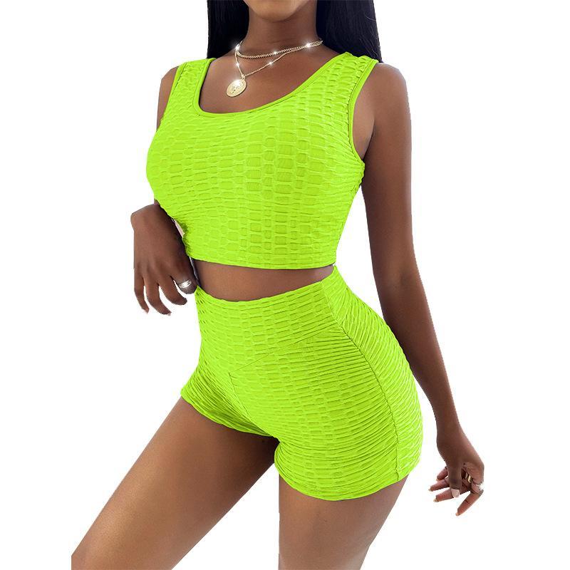 Establecer mamelucos de mono Color 2 pieza Traje de manga corta Casual Camisetas Carreras corporales Pantalones cortos sólidos de la rejilla de las mujeres