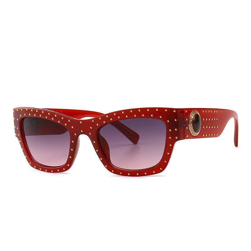 HBK Frauen italienische Übergroße Quadratische Sonnenbrille Luxus Marke Designer Sonnenbrille Diamant Dekoration Eyewear Männer UV400 210529