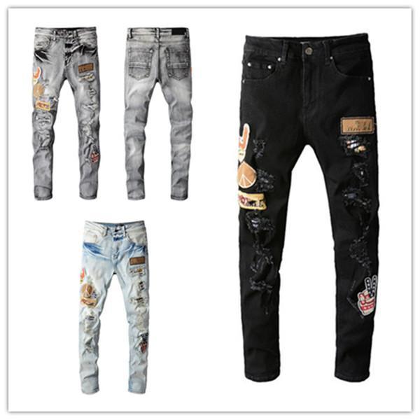 Designer Winter Herren Jeans Top Qualität Design Loch Farbe Patch Gewirnte Riss High Street Slim Bein Motorrad Biker Zerstörte Denim Hip Hop Hose US EU-Größe W28-W40