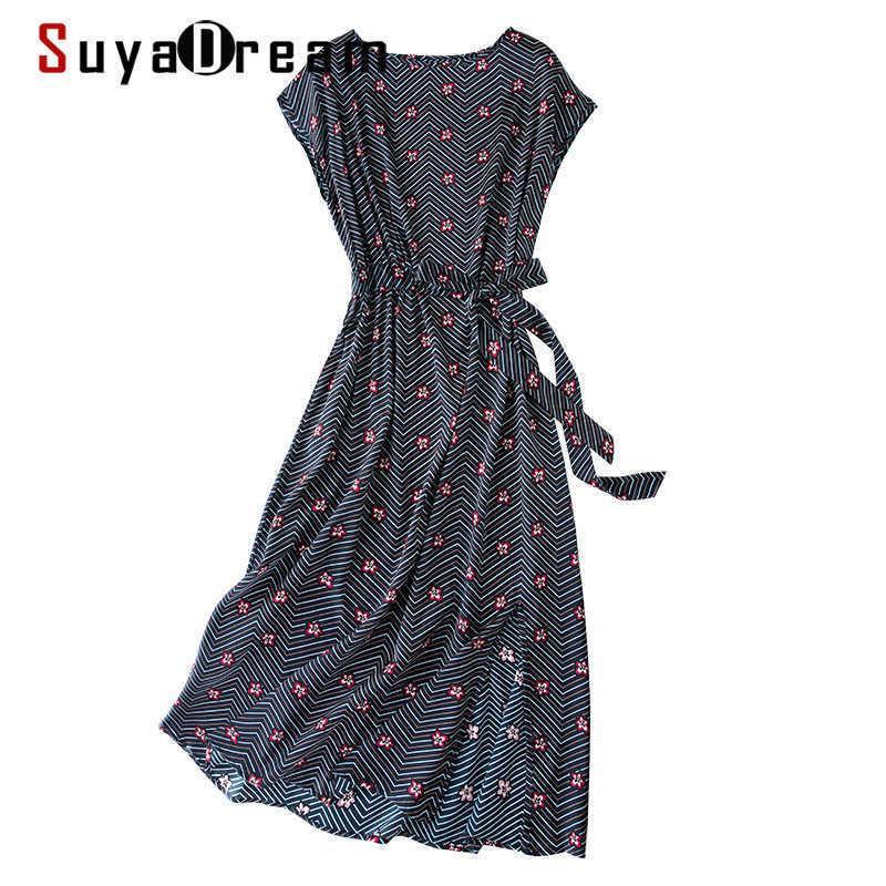 Suyadream frau gedruckt langes kleid 100% seiden satin a line schärpen floral kleider frühling sommer streifen kleider 210603
