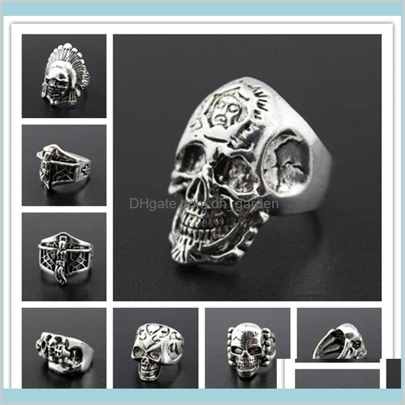 Band Oversize Gothic Skull Scoved Biker Stili misti Lotti Anelli antisier Mens Anelli retrò Goccia di gioielli Consegna 2021 Pisr3