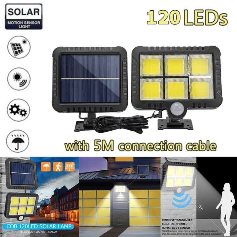 Solarlampen 100/120 LED-Wandlicht im Freien Garten wasserdicht PIR-Bewegungssensor Lampe Scheinwerfer Notfallstraße