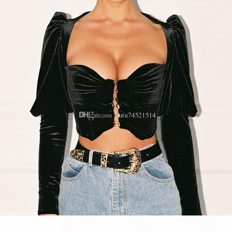 Black Square Collar Sexy T Shirt Women Tops Fashion Puff Sleeve Hooks Cropped Women Tshirt Casual Short Summer T-shirt