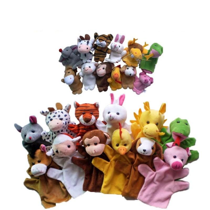 12Pcs/Lot Funny Hand Puppets For Kids Plush Hand Puppets For Sale Chinese Zodiac Style Cartoon Hand Puppets Large Size 1034 V2