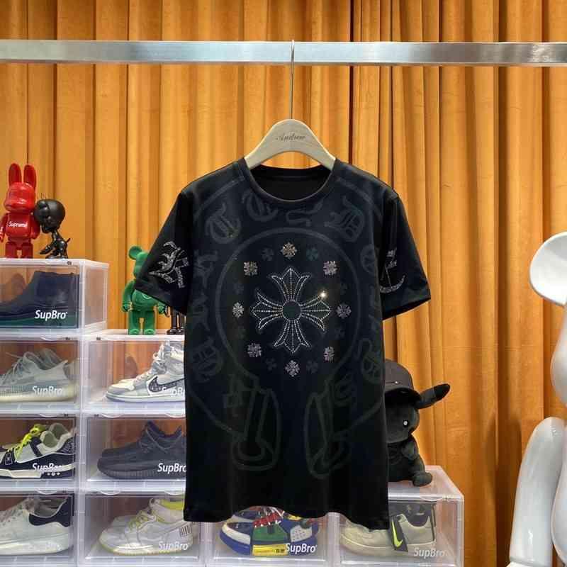 Moda Ch Marka Yeni Büyük Cro At Nalı Çapraz Baskı Sıcak Matkap Kısa Kollu Yuvarlak Boyun T-shirt Erkekler ve Kadınlar için KDZ5