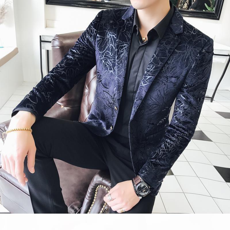 Frühlingsmänner Business Casual Mode Blume Anzug Jacke Slim Jugend Große Größe Kleine Anzug Jacke Hemd Herrenbekleidung