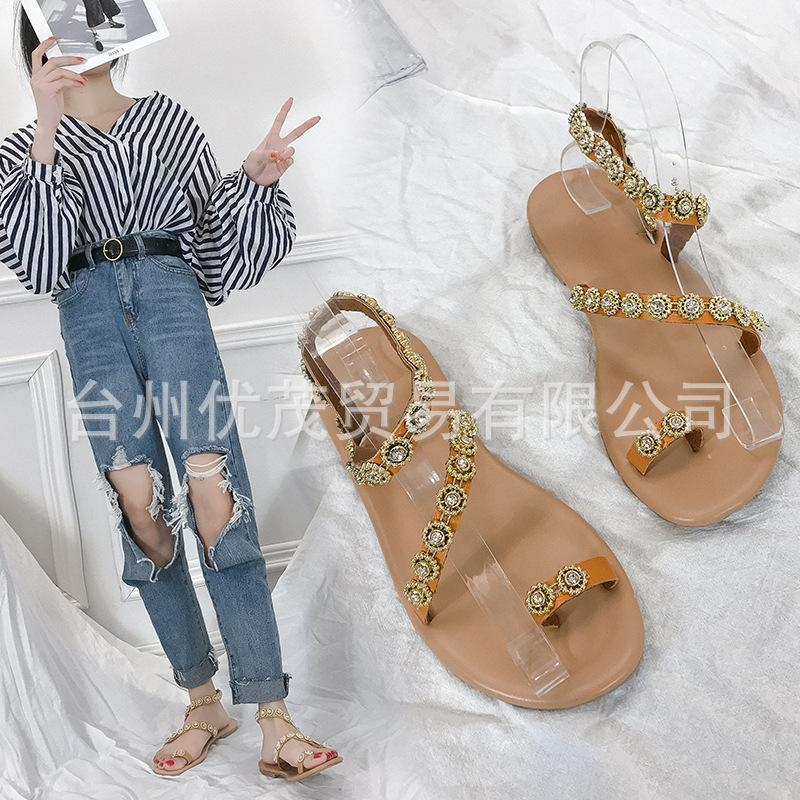 Crystal Buckle Strap Rome Flat Sandals Rubber Solid Beach Shoes T-Strap Front Rear Summer Sandale Femme 2121