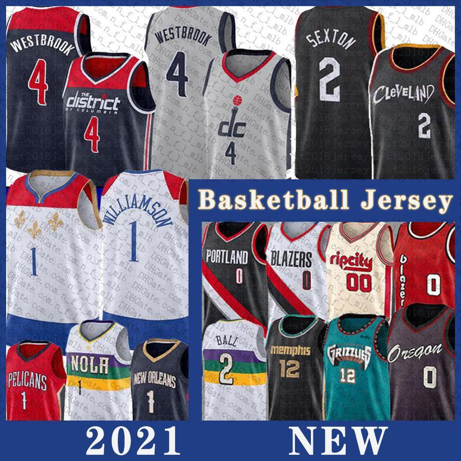 2021 Mens Collin 2 Sexton Russell 4 Westbrook Basketball Jersey Ja 12 Morant Zion 1 Williamson Damian 0 Lillard Jerseys Lonzo 2 Ball Carmelo 00 Anthony Stitched