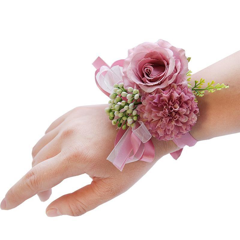 Charm Bracelets Wedding Bridal Wrist Corsage Accessories Bridesmaid Girls Bracelet Man Boutonniere Groom Party Silk Flower BroochSafety Pins