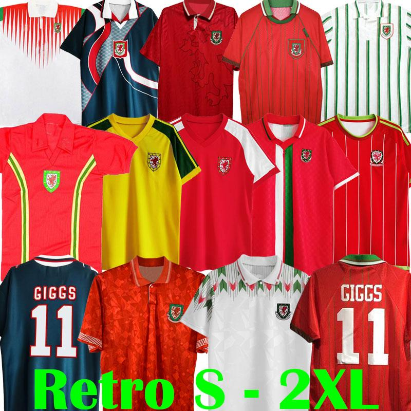 1976 1982 1990 1993 Gales Wales 1992 1994 Retro Soccer Jersey Giggs Hughes Home Away Saunders Rush Boden Speed 1995 1996 1998 Camisa de futebol clássico vintage