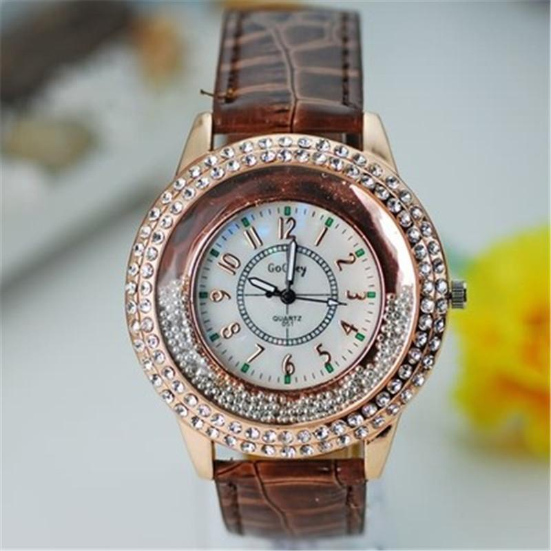 Wristwatches Fashion Ladies Leather Crystal Rhinestone Watches Women Beauty Dress Quartz Wristwatch Hours