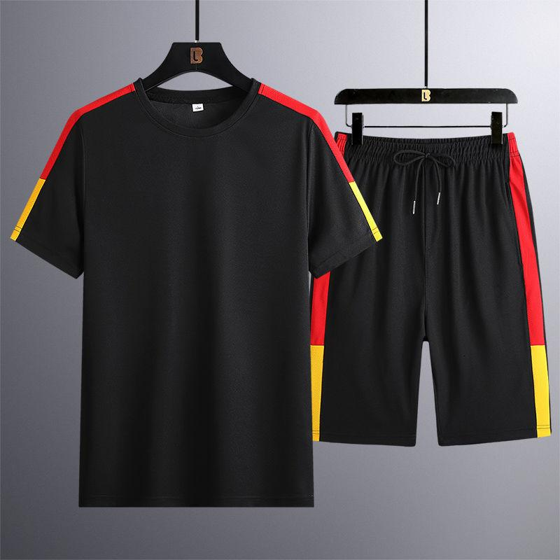 Erkek Eşofman Erkek Tracksuitsshort Kollu T-shirt erkek 2021 Yaz Vücut Gevşek Kore Eğlence İki Parçalı Set 1310-TC01