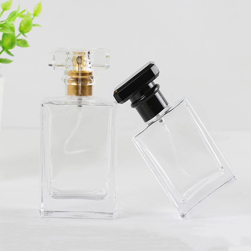 Espesado de gama alta portátil transparente doméstico doméstico de cristal botella de perfume de cristal subpackage de rociado vacío hermosa cuadrada gruesa inferior zjtl0181