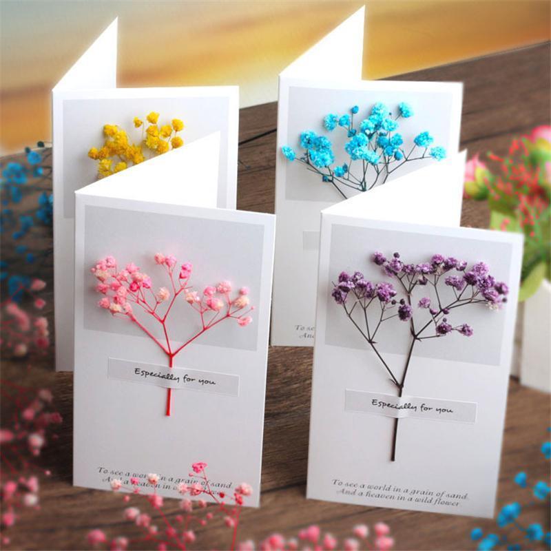 Flowers Greeting Cards Gypsophila dried flower handwritten blessing birthday gift card wedding invitations