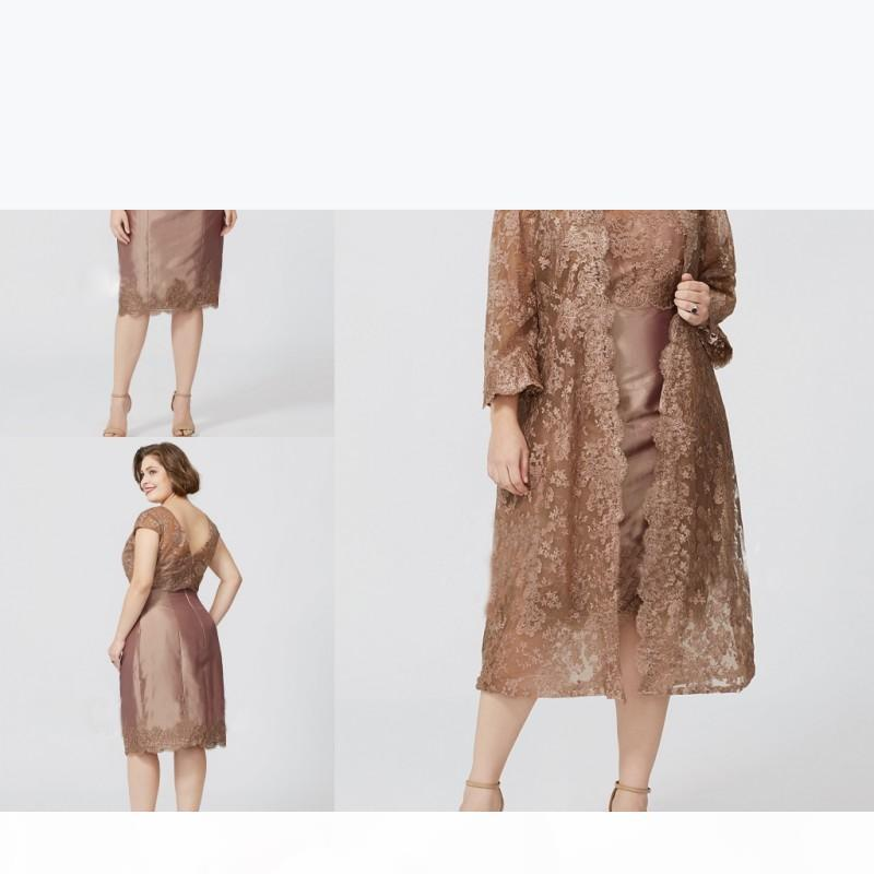 Artı Boyutu Aplike Dantel Anne Gelin Elbiseler ile Ceket Uzun Kollu Abiye giyim Aplikler Diz Boyu Düğün Konuk Elbise