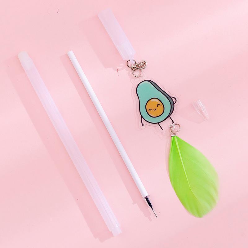 هلام أقلام 24 قطع القلم لطيف الكورية الإبداعية الأفوكادو ريشة قلادة مجموعة طالب محايد kawaii اللوازم المدرسية بالجملة