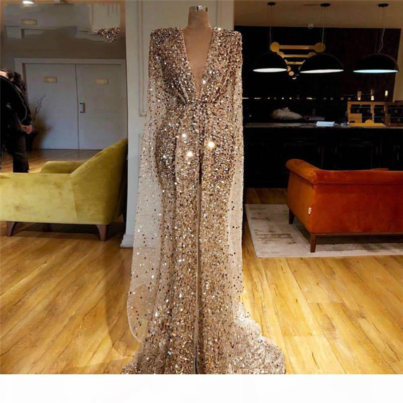 Gold Glitter Prom Dresses Arab Dubai Sequins Beads V Neck Mermaid Evening Dresses Luxury Long Sleeves Pageant Dress Custom Made