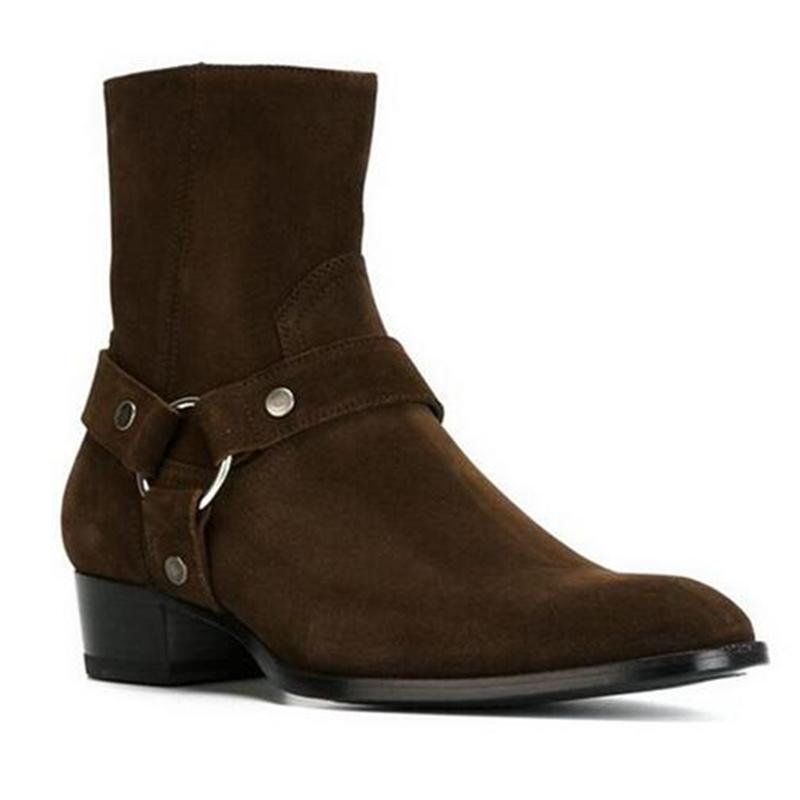 Boots Men's Attantou, Wildleder und Ledergurte, Gabelstaplerstiefel mit Seitenreißverschluss, für Schuhe