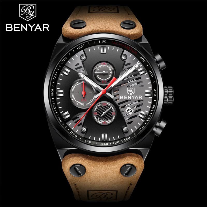 Moda Hombres Negro Reloj de lujo Top de lujo Correa de cuero Relojes para hombre Skeleton Sport Quartz Wristwatch Relogio Masculino Relojes de pulsera