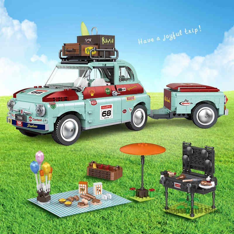 Creator Series Expert Fiat Auto 500 Picknick Pretend Play House Spielzeug Bausteine Set Ziegelsteine Spielzeug für Kinder Kinder Geschenk X0503