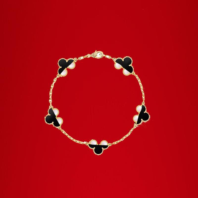 Klasik 18 K altın dört yapraklı yonca bilezik zinciri kadınlar için moda ve yüksek kaliteli hediye kutusu
